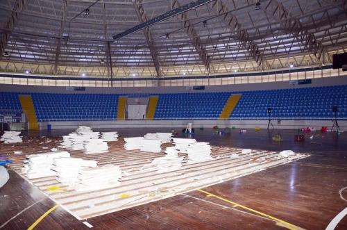 Começa a reforma do piso do Ginásio Galegão em Blumenau