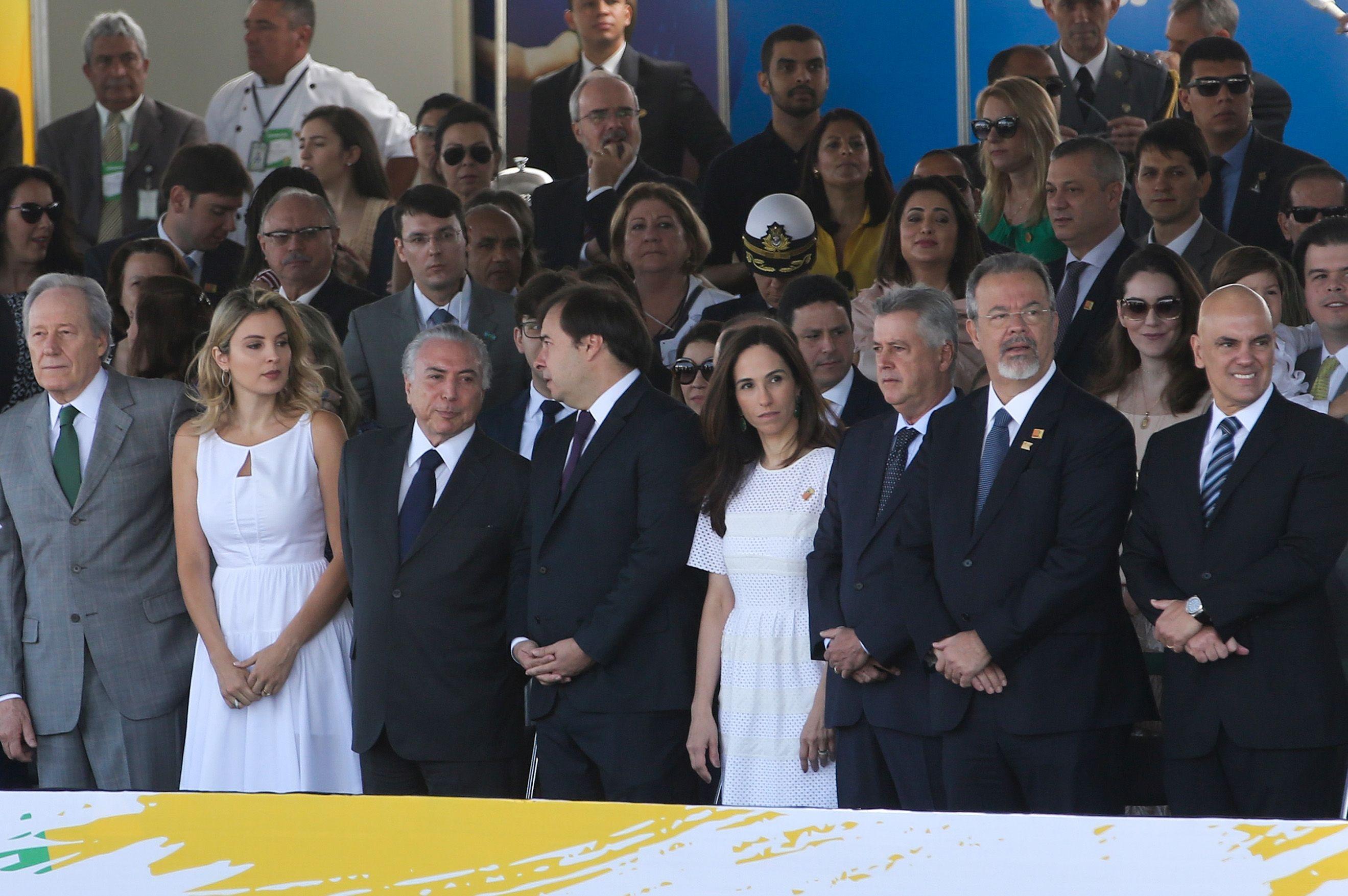 O presidente Michel Temer e a primeira-dama Marcela Temer durante desfile de 7 de Setembro, na Esplanada dos Ministérios - Wilson Dias/Agência Brasil/Divulgação/ND