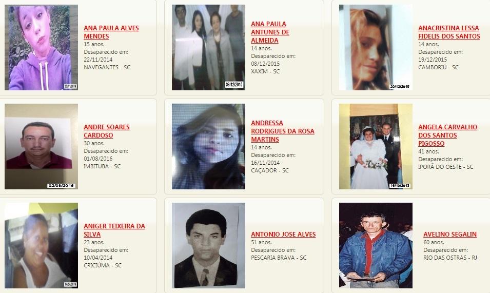 Atualmente há 4.200 estão listadas como desaparecidas em Santa Catarina - DPPD/Reprodução/ND