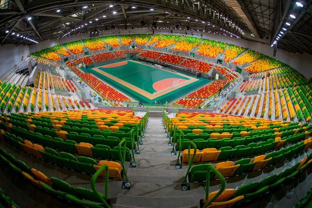 Piso da quadra da Arena do Futuro, no Rio de Janeiro, onde foram disputadas as partidas de handebol na Olimpíada de 2016 – Foto: Divulgação Rio 2016/ND