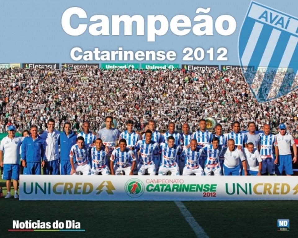 2012 (Avaí): O Avaí foi campeão ao vencer o Figueirense nos dois jogos da final do estadual de 2012. Na Ressacada bateu o rival por 3 a 0 e no Scarpelli por 2 a 1 – Foto: arquivo/ndmais