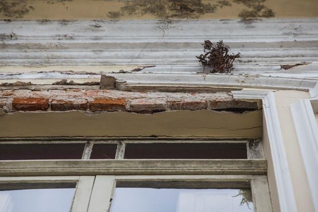 Detalhe do reboco do antigo prédio da Fecam - Daniel Queiroz/ND