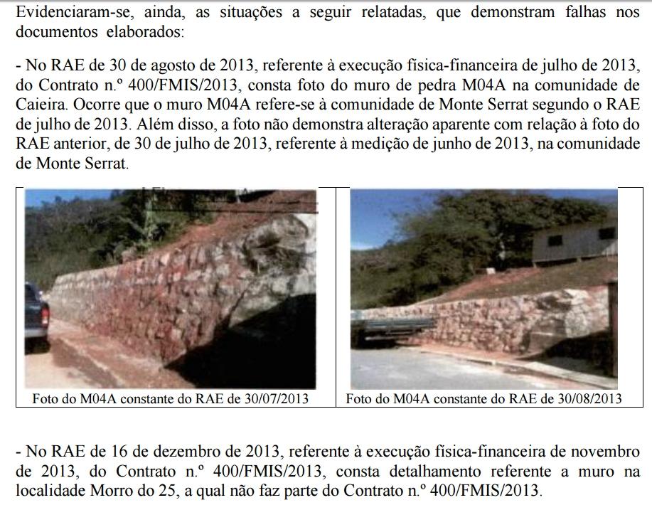 Muro construído no Monte Serrat também aparece em relatório da Caieira - Reprodução
