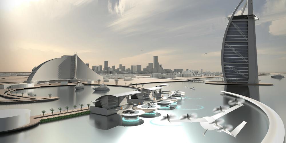 Ilustração projeta como o Uber Elevate poderia atuar em Dubai, que será uma das primeiras cidades a receber o VTOL - Divulgação/Uber/ND