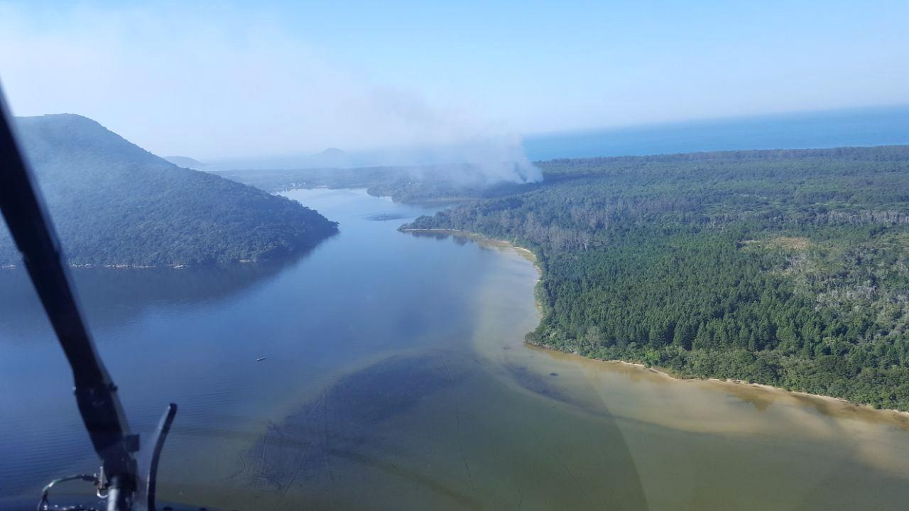 A vista do incêndio a partir do helicóptero Águia 02 - Águia 02/PM/Divulgação/ND