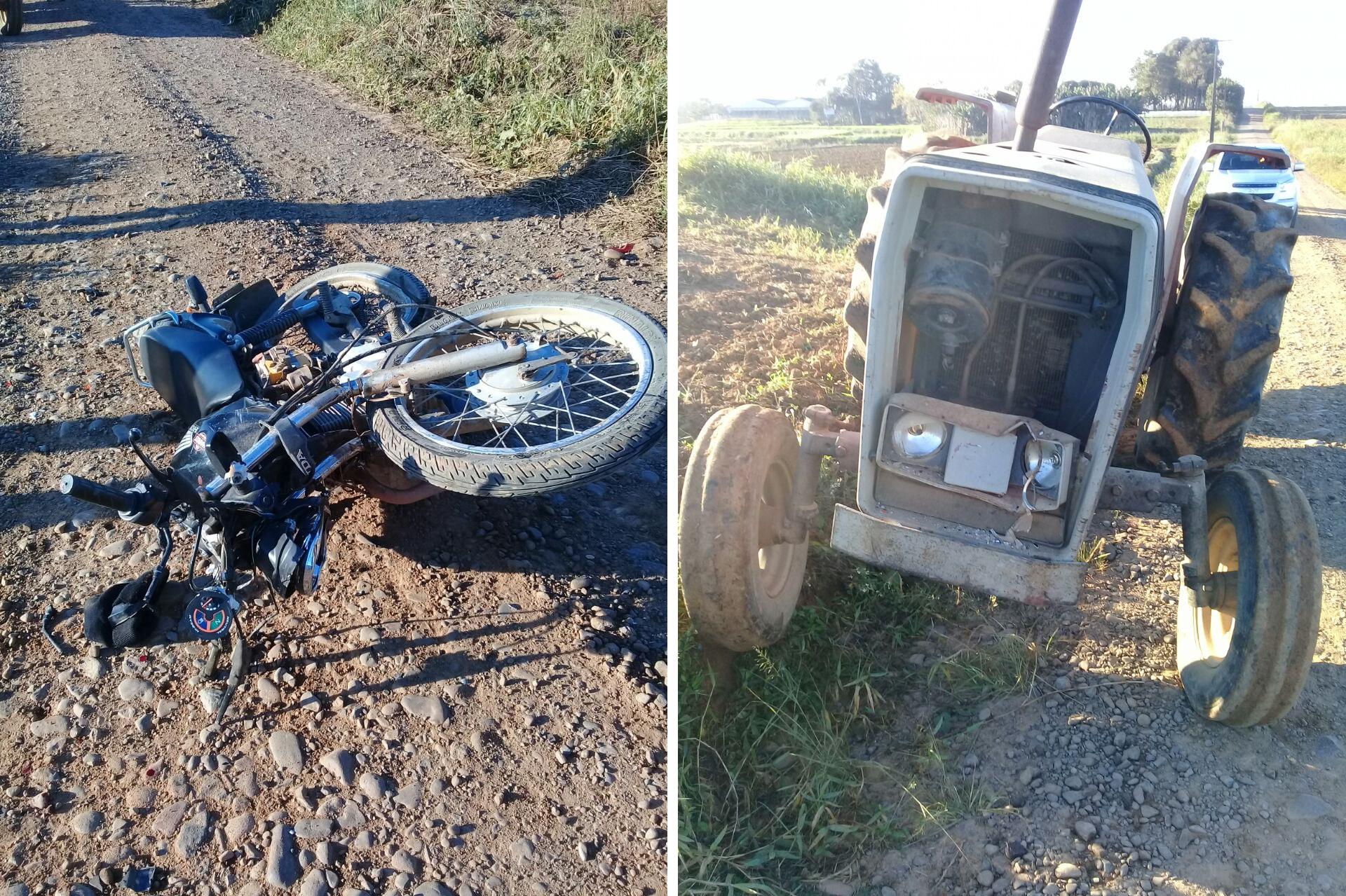 A moto Honda e o trator se envolveram em um acidente na manhã desta quarta-feira - Divulgação/ND