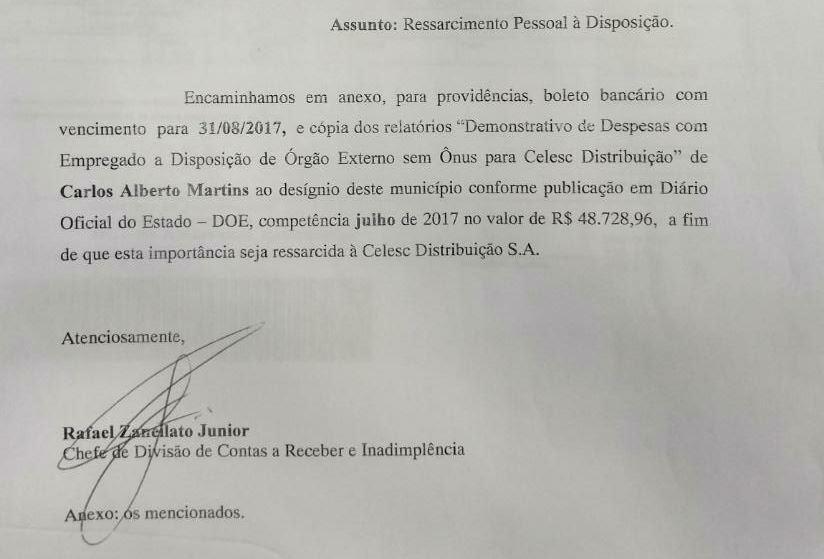 Ofício encaminhado à Prefeitura de Florianópolis com a cobrança de R$ 48.728,96 referente ao custo do servidor cedido - Reprodução
