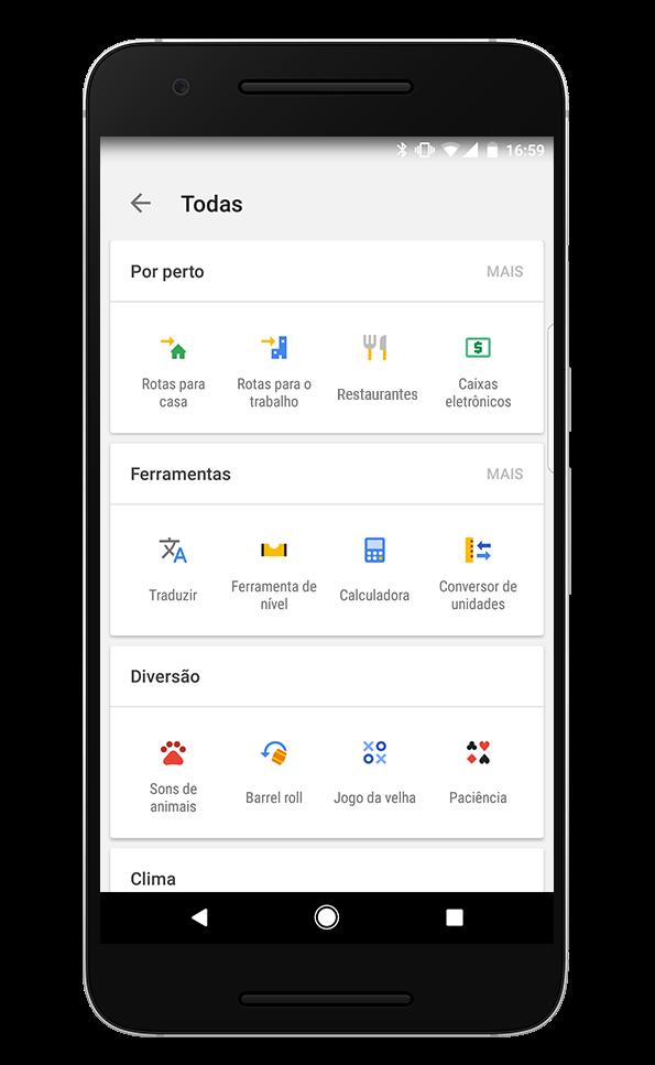 Atalhos disponíveis no app para quem usa Android - Divulgação/Google/ND