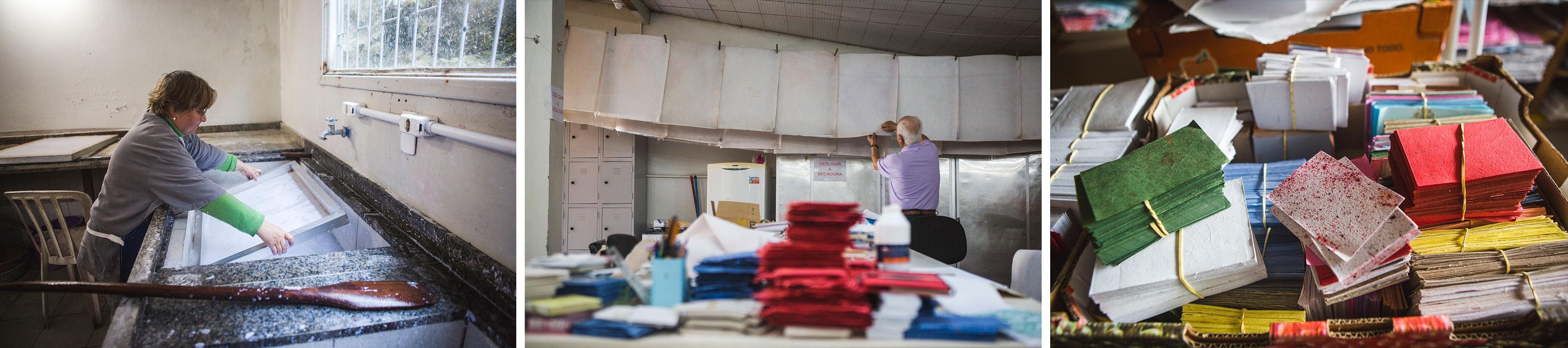 Solange Salles Schiefler (à esq.) é uma das participantes da oficina de papel reciclado da Coepad, que funciona há quase duas décadas - Daniel Queiroz/ND