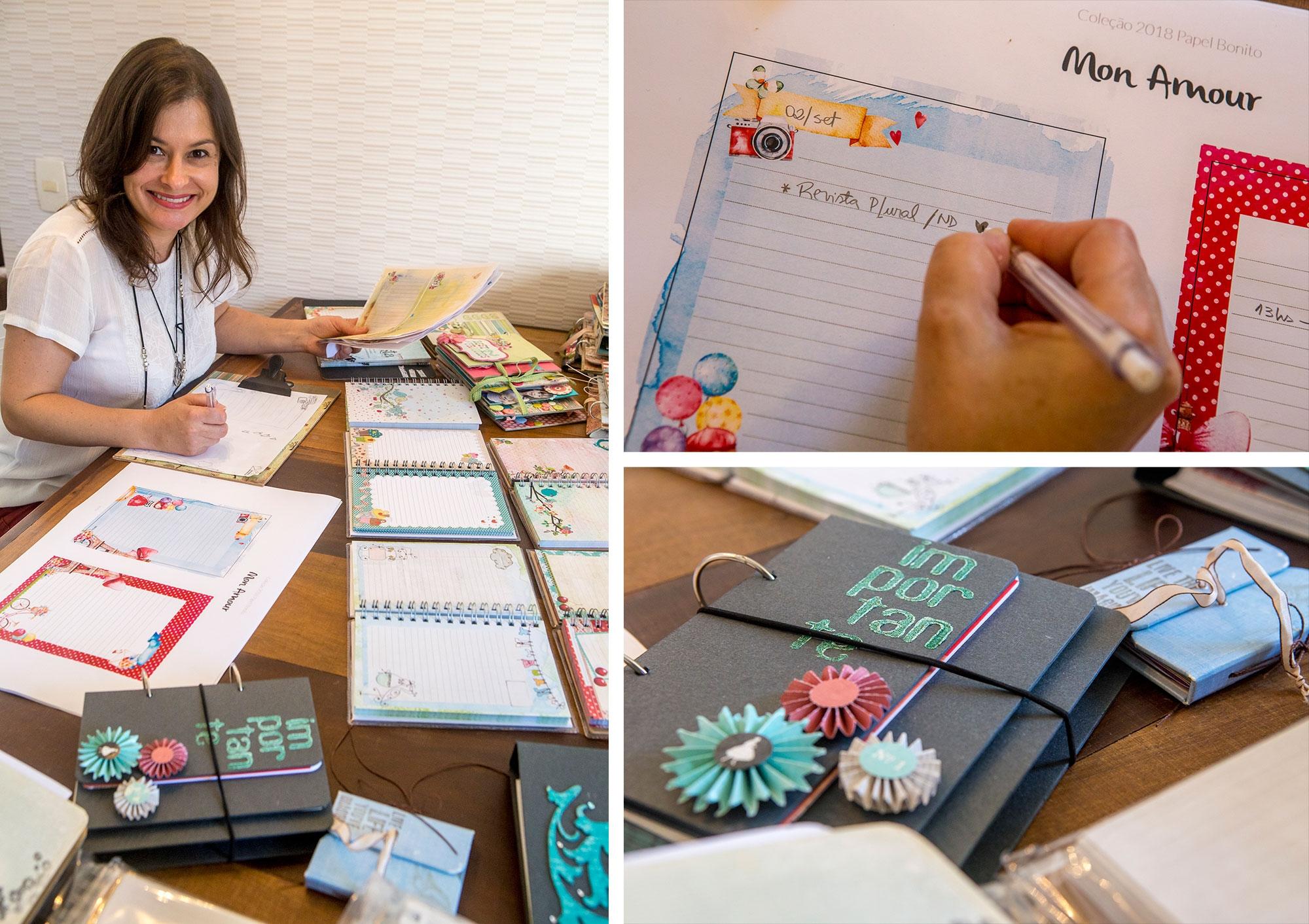 Angelita Maria Correa dispensa a agenda eletrônica. Ela cria estampas para agendas e faz scrapbooks sob encomenda - Flávio Tin/ND