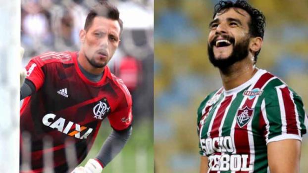 Diego Alves e Henrique Dourado duelam nesta quinta. Ambos tem ótimo aproveitamento em pênaltis - Diego Alves, goleiro do Flamengo x Henrique Dourado, atacante do Fluminense