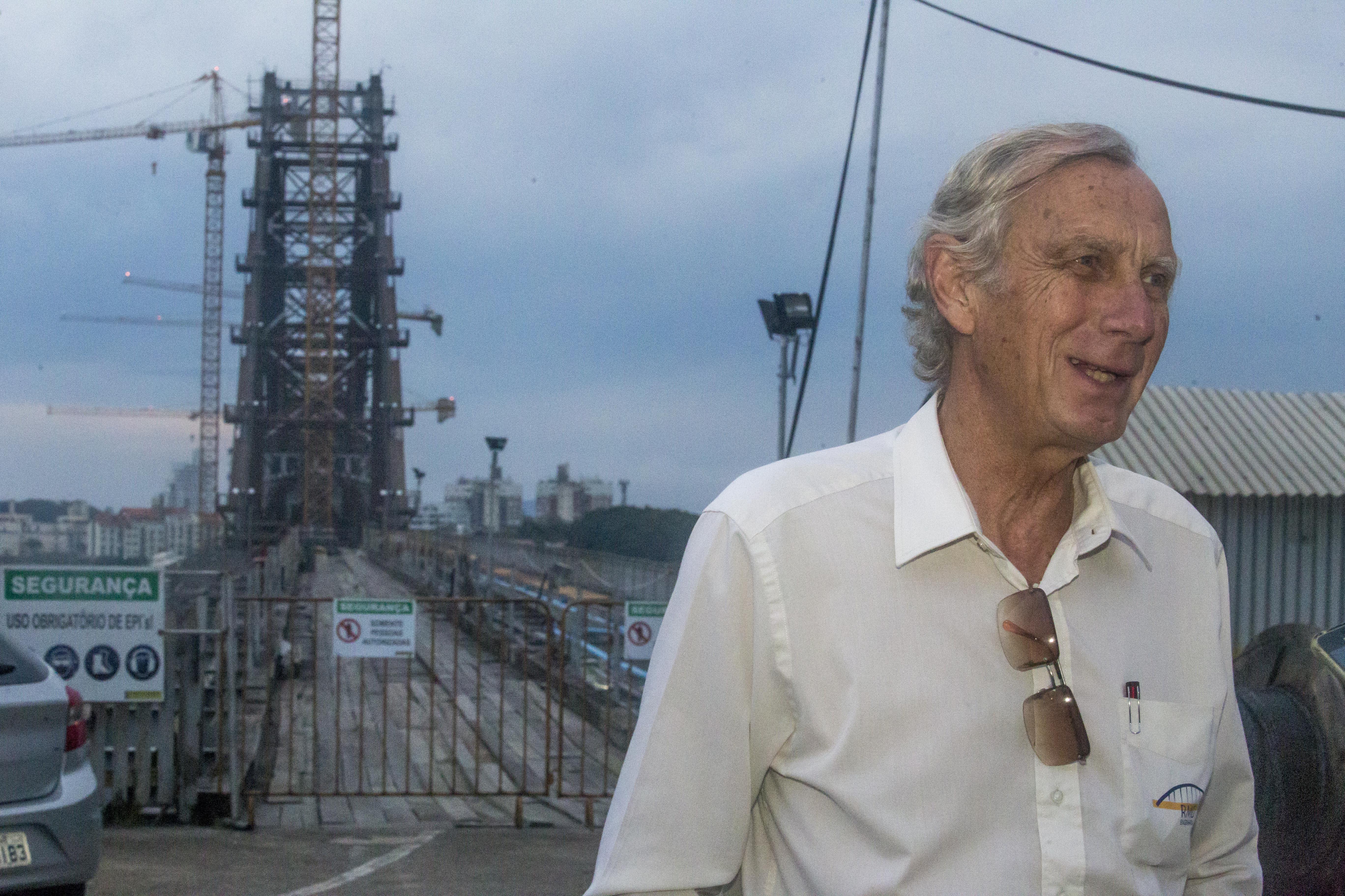 Para Jurn Maertens, que chegou ao Brasil há 50 anos, a ponte Hercílio Luz é o seu maior desafio na engenharia - Flávio Tin/ND