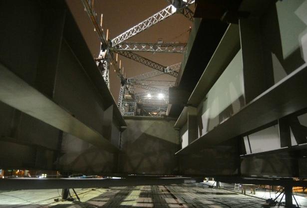 A ponte foi elevada em mais 10,9cm nesta quinta - Jaqueline Noceti/Secom/Divulgação/ND