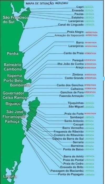Mapa de monitoramento da maricultura no litoral de Santa Catarina - Cidasc/Divulgação