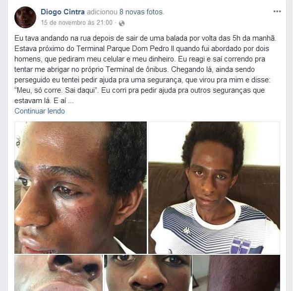 Relato nas redes sociais sobre o caso de agressão e assalto  - Reprodução/ Facebook