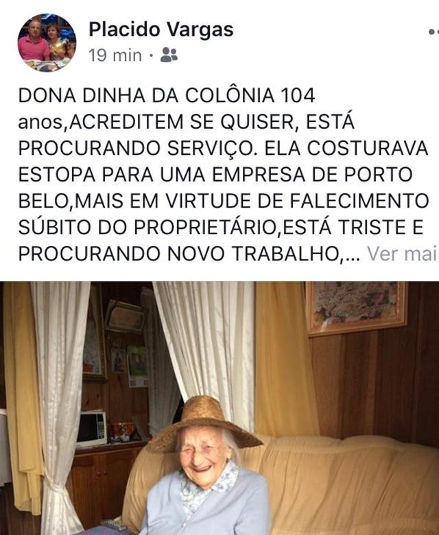 Plácido expôs o caso nas redes sociais e a família do ex-patrão recontratou dona Dinha - Reprodução/Rede Social/ND
