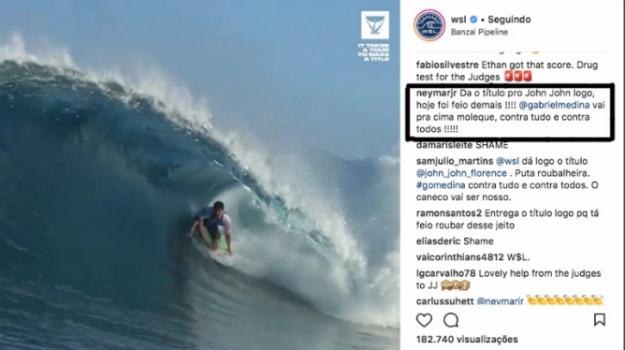 Neymar corneta WSL e apoia Medina após classificação de John John - Reprodução/ Instagram