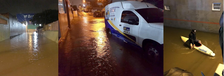 Chuva deixa ruas alagadas no bairro Ingleses, em Florianópolis - Marcos Grieger e Silvio Ferreira