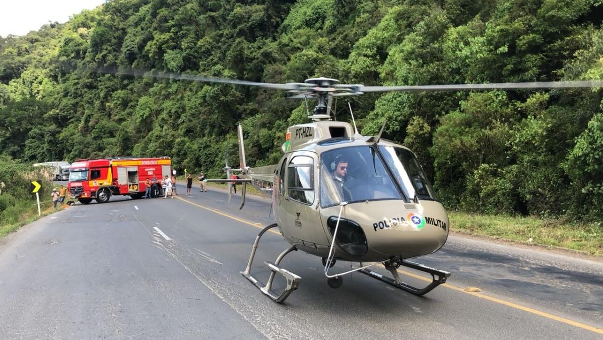 Acidente fatal ocorreu no km 205 da BR-470 - Águia 02/Divulgação/ND