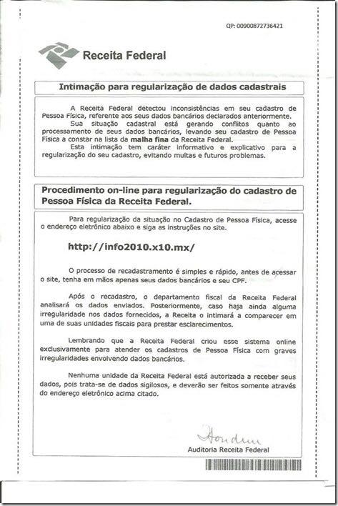 Modelo do documento utilizado no golpe - Receita Federal/Divulgação