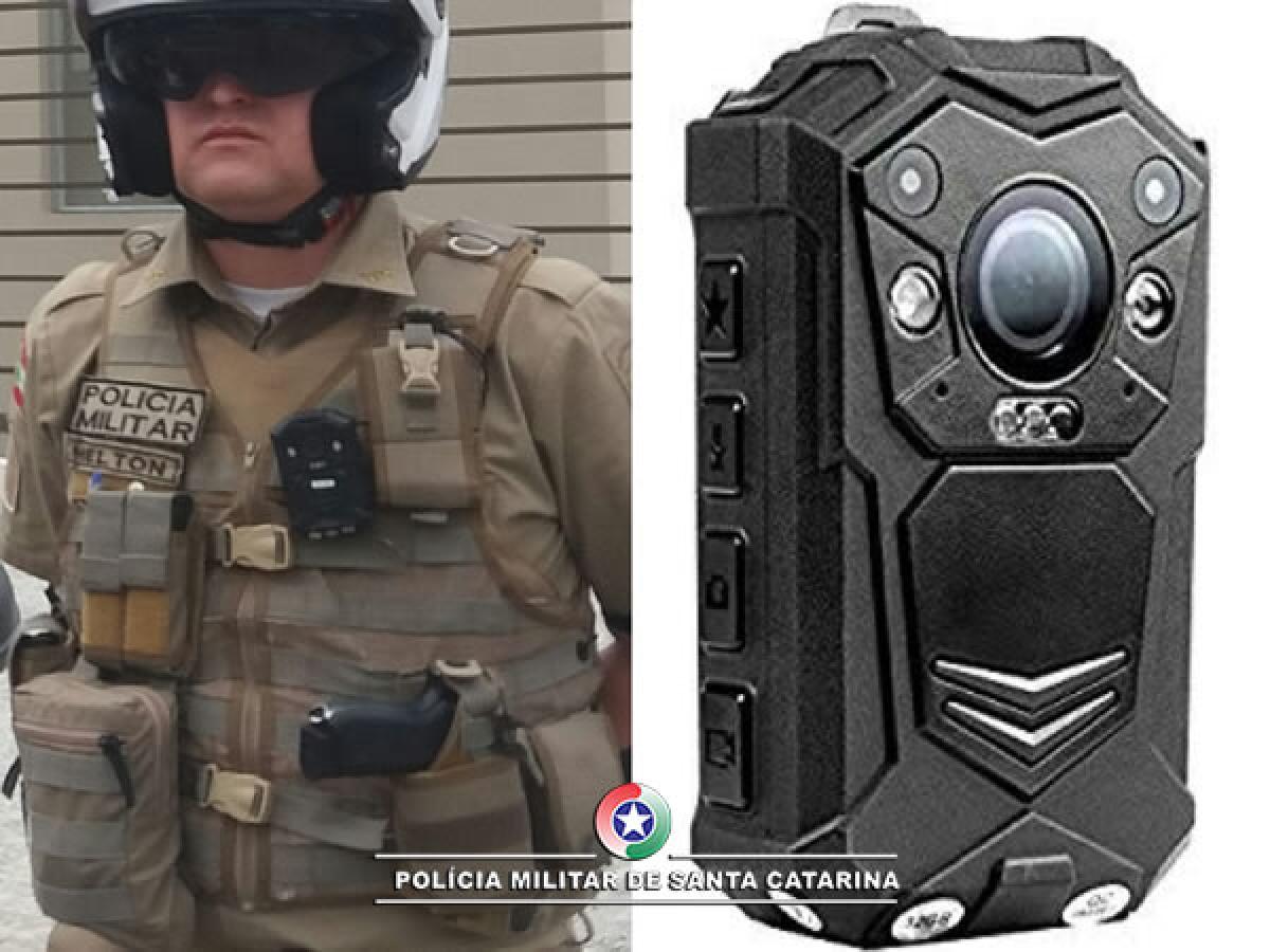 Câmeras corporais estão sendo testadas por policiais em Tubarão e São Francisco do Sul - PMSC/Divulgação/ND