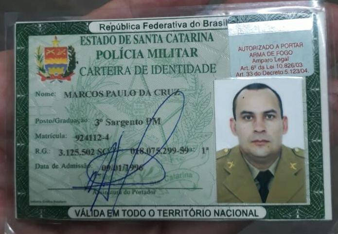 Marido de Caroline, o sargento Marcos Paulo da Cruz foi operado e está fora de risco - Reprodução/ND