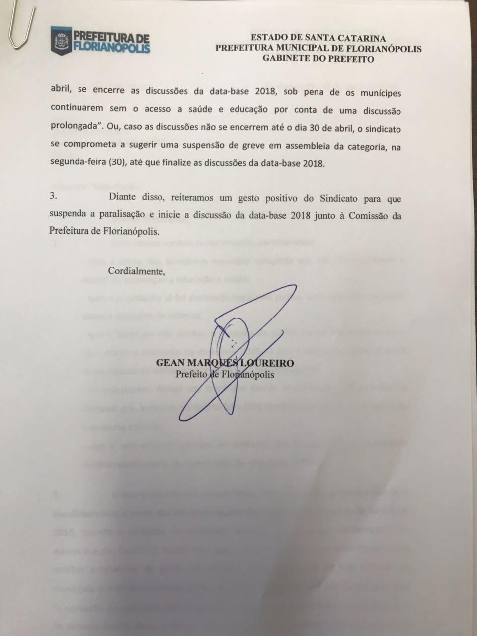 Negociações da data-base 2018 estão condicionadas ao fim da greve - PMF/Divulgação