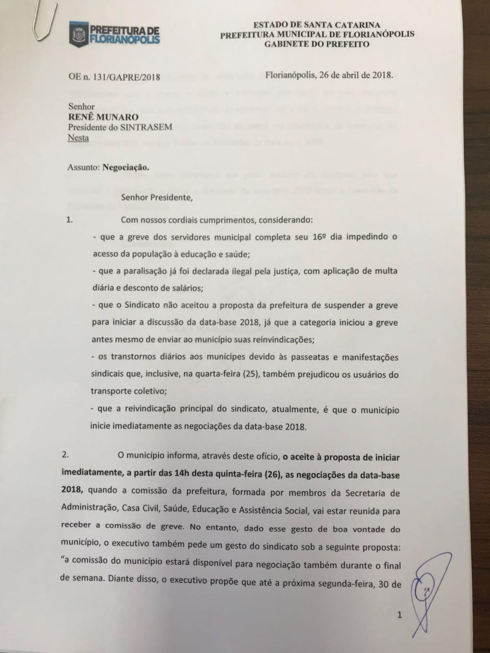Documento foi enviado ao Sintrasem nesta quinta-feira - PMF/Divulgação