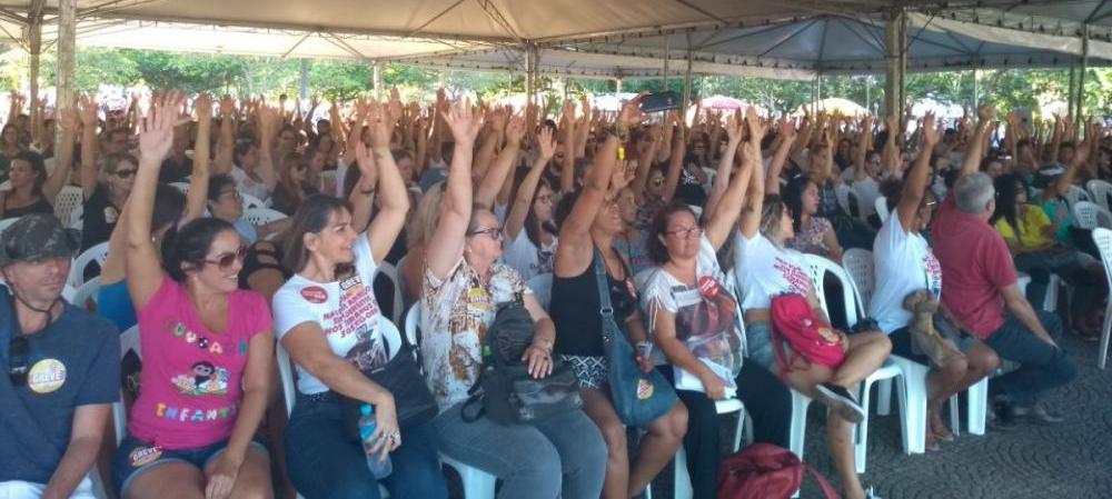 Servidores da Capital votam pela continuidade da greve em assembleia nesta quarta, 25 de abril - Sintrasem/Divulgação/ND