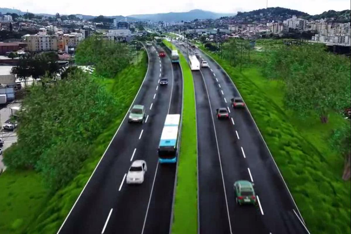 Dnit divulgou o esboço de como ficará a Via Expressa após a ampliação - Reprodução/ND