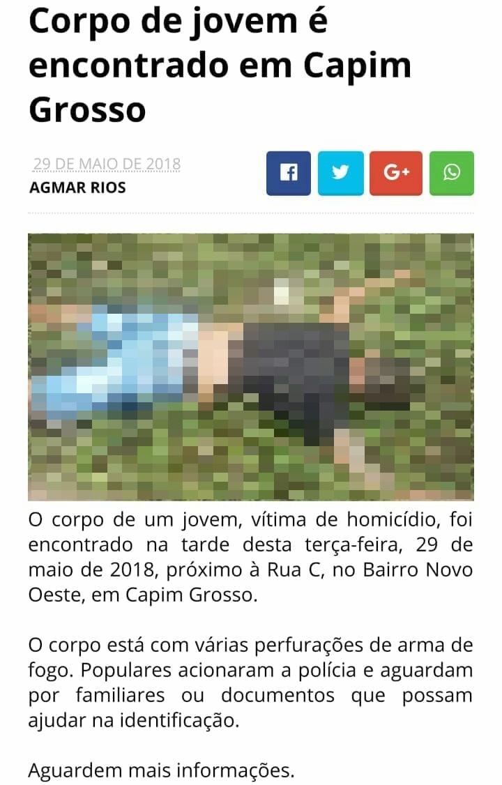 Foto é de vítima de homicídio ocorrido na cidade de Capim Grosso, na Bahia - PRF/Divulgação