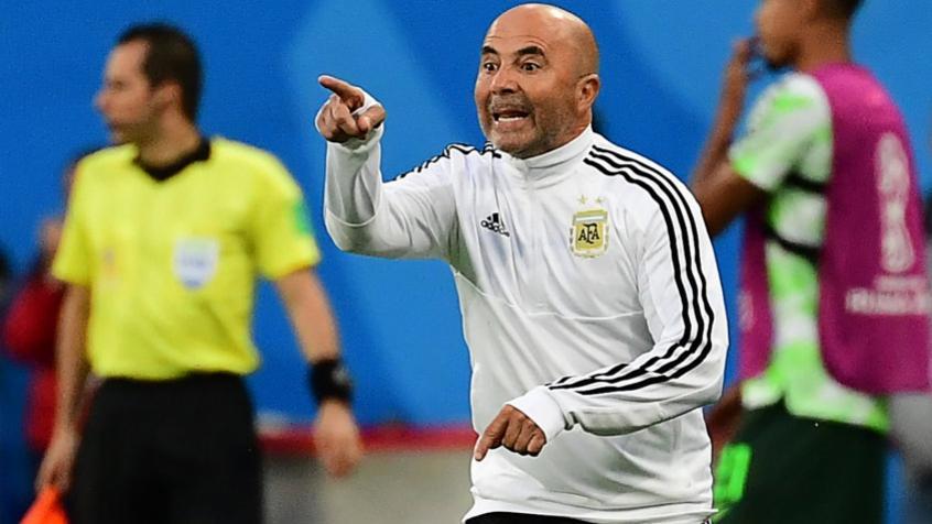 Jorge Sampaoli durante a partida contra a Nigéria - FOTO: AFP -