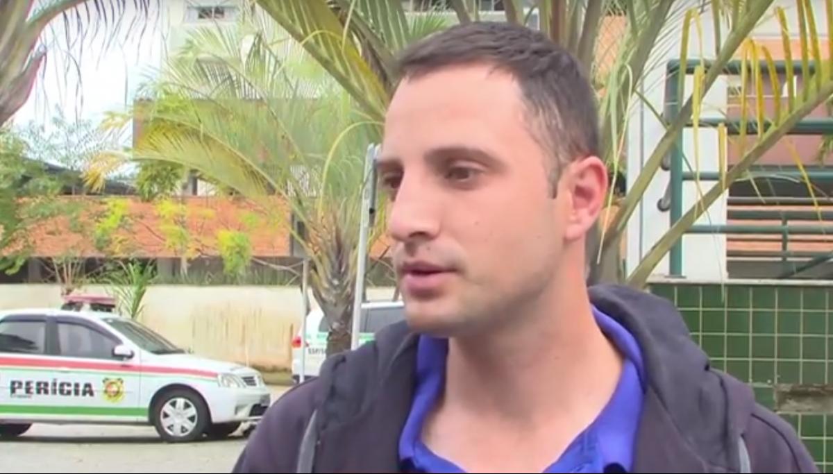 Bruno da Silva Mattos, o taxista que se envolveu na briga, disse que teve um corte na cabeça e ficou com uma marca roxa no braço - RICTV Record/Reprodução/ND