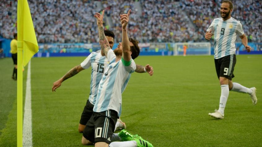 57d874ae569e6 Messi comemora seu primeiro gol na Copa de 2018 - AFP