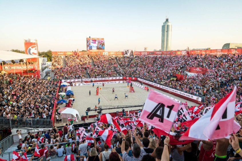 Arena montada para a etapa de 2017 em Viena, do Campeonato Mundial (Foto:Divulgação/FIVB)