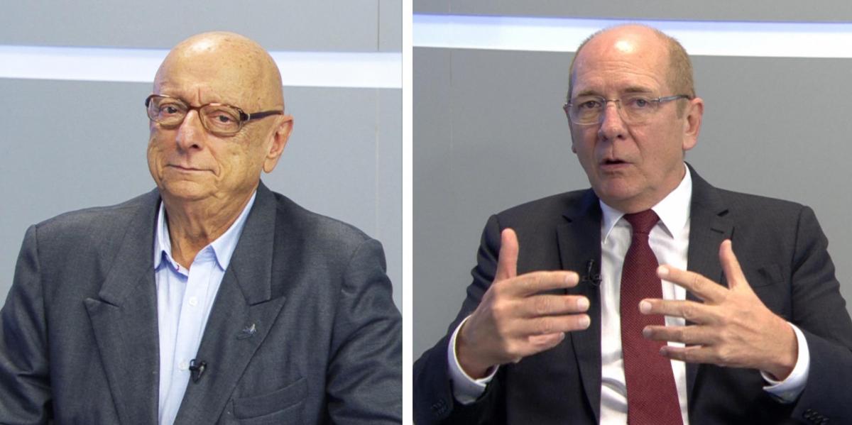 Esperidião Amin e Paulo Bauer - Reprodução/RICTV