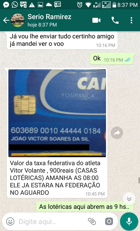 Conversa do estelionatário com o pai do atleta - arquivo pessoal/divulgação/nd