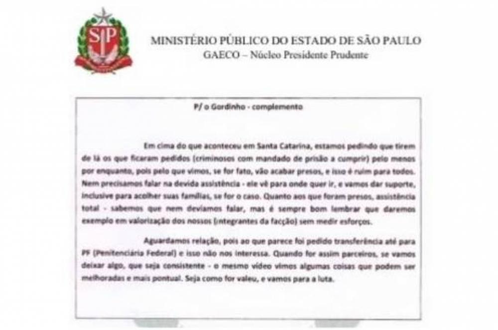 Carta do PCC pede diminuição de ações da facção - MP-SP/Reprodução/ND