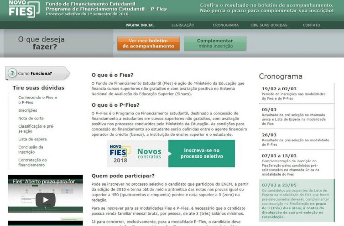Página do Fies na itnernet - Reprodução/MEC