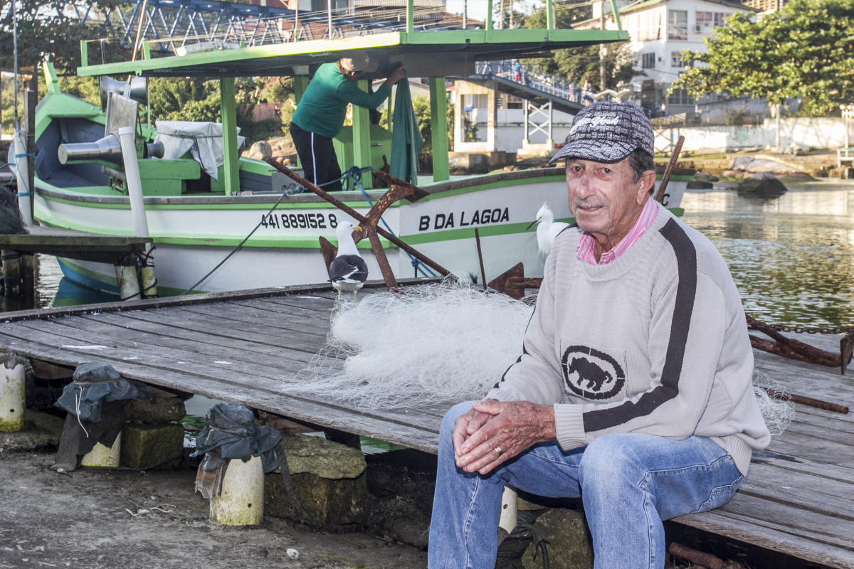 Jucemar Manoel Teixeira, pescador aposentado da Barra da Lagoa - Marco Santiago/ND