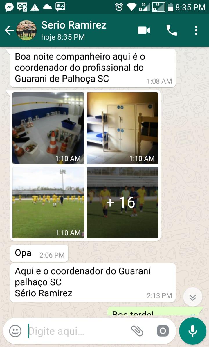Conversa entre o estelionatário e o pai do atleta - arquivo pessoal/divugação/ND