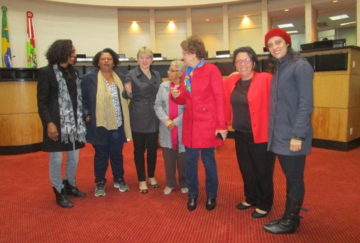 Representantes da AMAB (1ª, 2ª e 4ª), deputadas Dirce Heiderscheidt e Luciane Carminatti (3ª e 5ª), ex-deputada Ideli Salvatti (6ª) e documentarista Flávia Person (7ª), durante a solenidade que lembrou importância de Antonieta - Carlos Damião