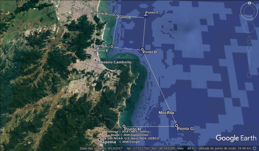 Área de buscas e local onde foi encontrada a mochila - Corpo de Bombeiros/Divulgação/ND