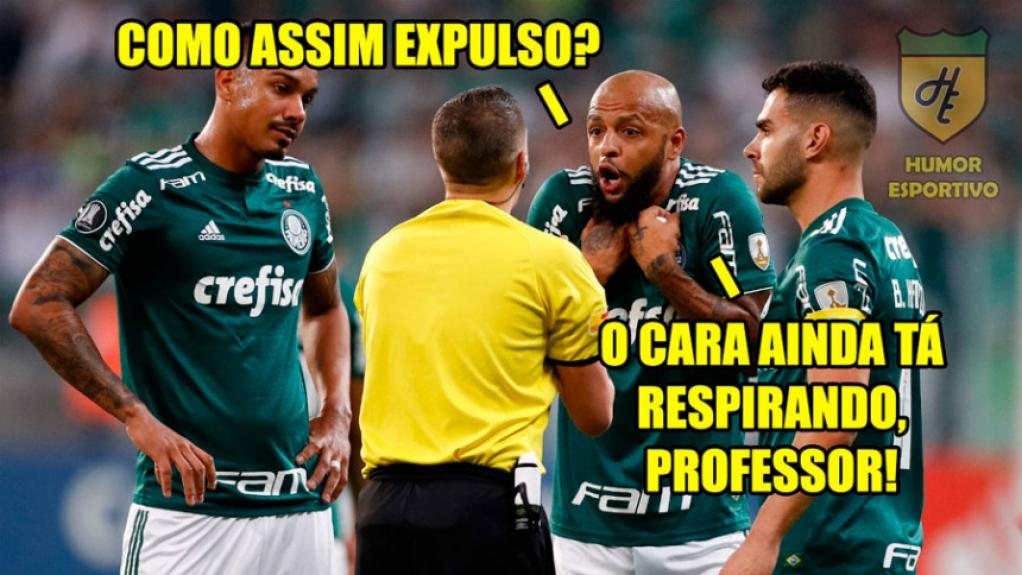Memes brincam com expulsão de Felipe Melo e classificação do Palmeiras na Libertadores - Reprodução