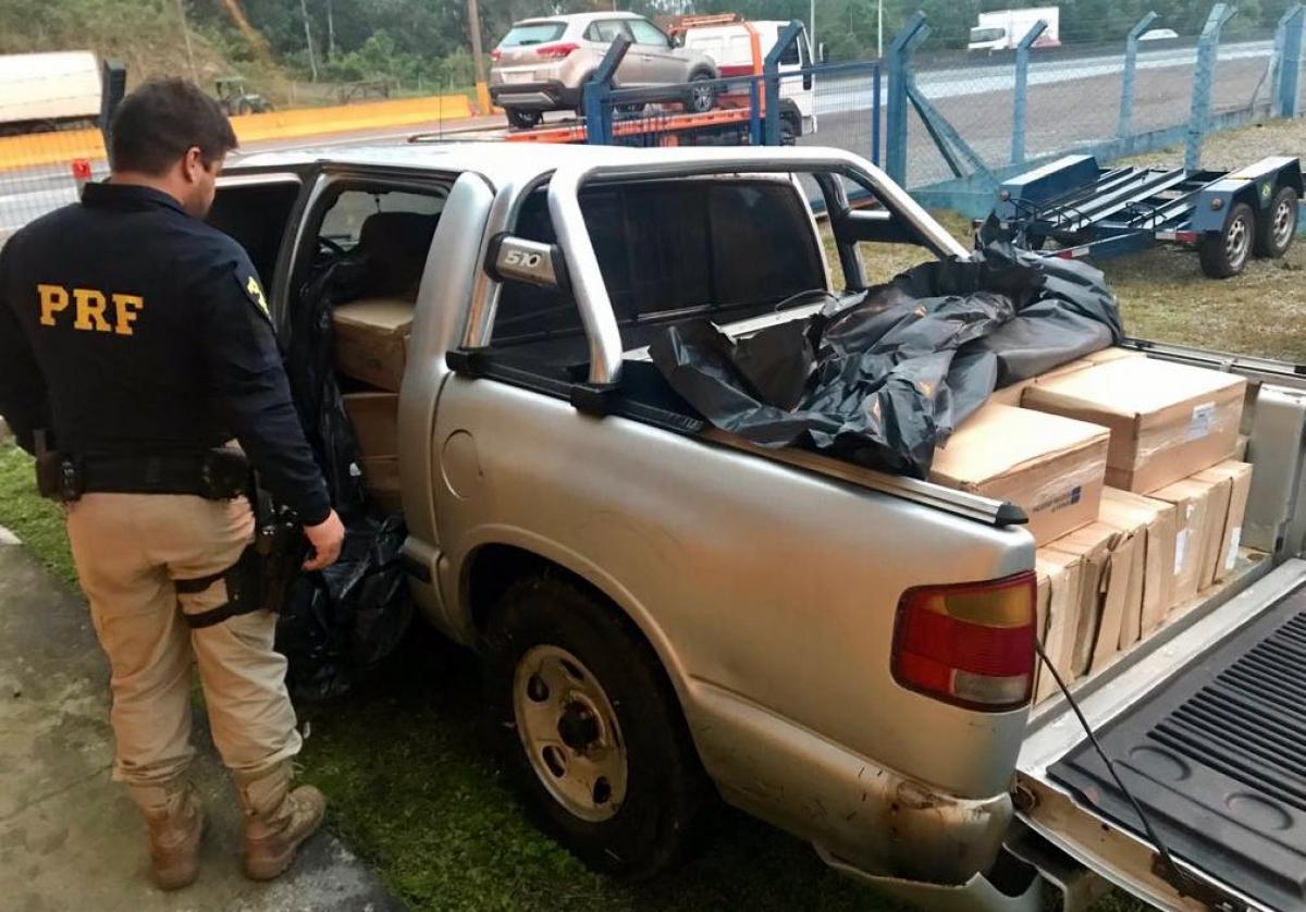 Carga estava na traseira da caminhonete e foi encaminhada pela PRF para o Ibama - PRF/Divulgação/ND