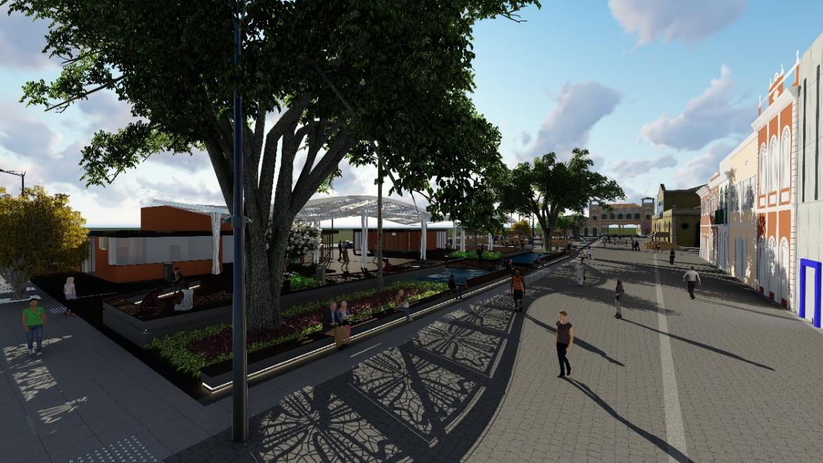 Projeto prevê deque, canteiros, espelhos d'água, cobertura metálica e um centro comercial - PMF/Divulgação/ND