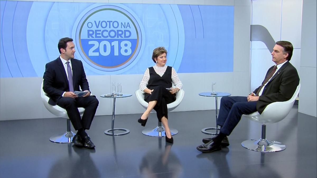 Jair Bolsonaro foi o primeiro dos candidatos entrevistados na série de entrevistas da Record TV  - Record TV/Divulgação/ND
