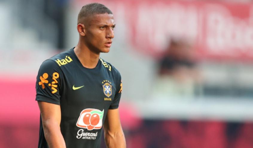 Richarlison em treino da Seleção Brasileira (Lucas Figueiredo/CBF)
