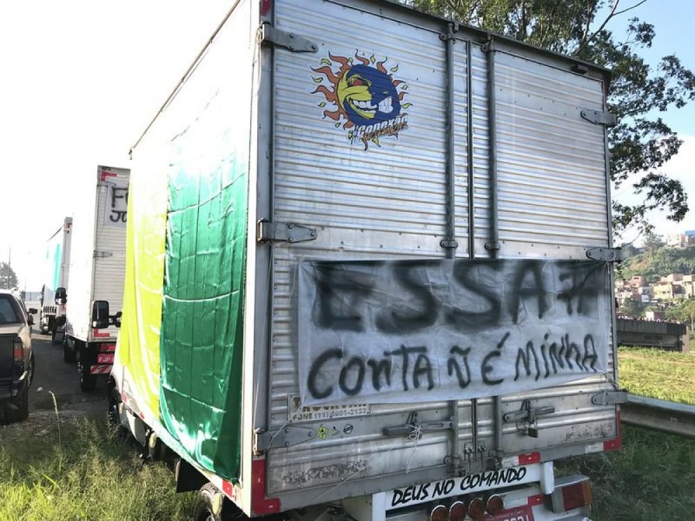 Greve dos caminhoneiros em São Bernardo do Campo (SP), no domingo (27) - Roberto Parizotti/Fotos Públicas