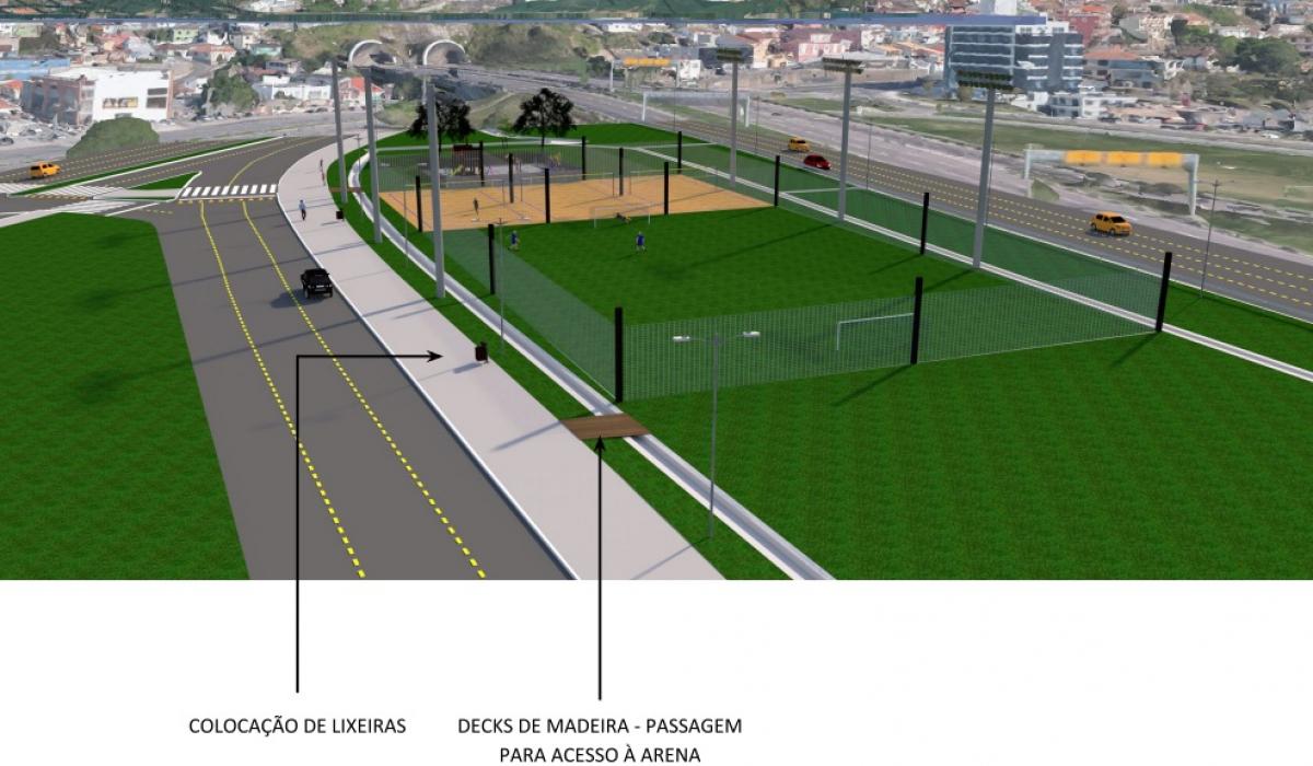 Projeto prevê um campo de futebol - PMF/Divulgação